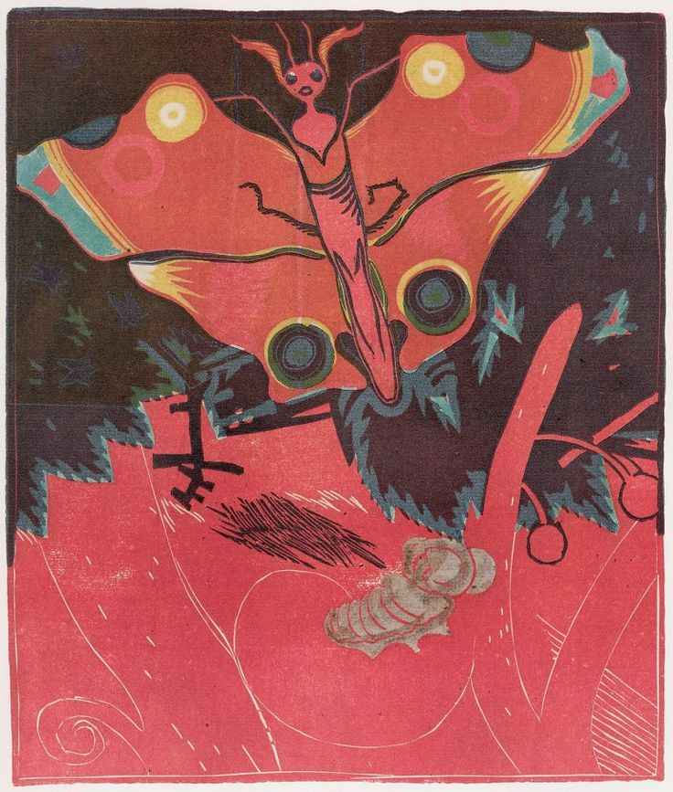 Josef Vachal: Butterfly and Nympha, 1915. From Meditations About Life (World of Individuals) cycle; http://www.vachal.cz/ukazky/meditace/Motyl_a_kukla_l.jpg