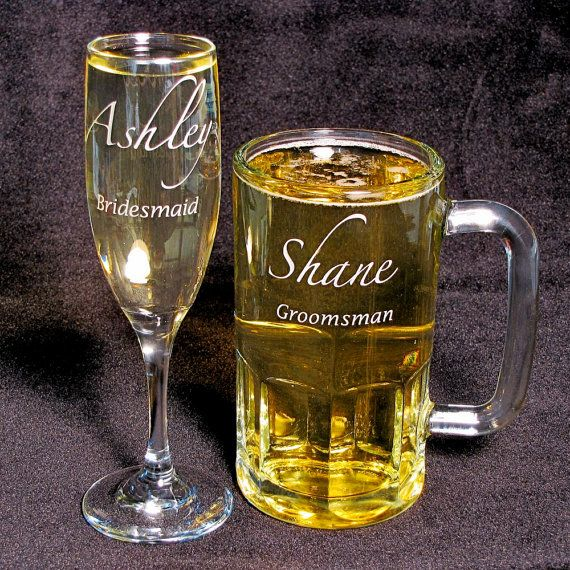 Set of 8 Beer Mug Champagne Flute Personalized by bradgoodell on etsy.com