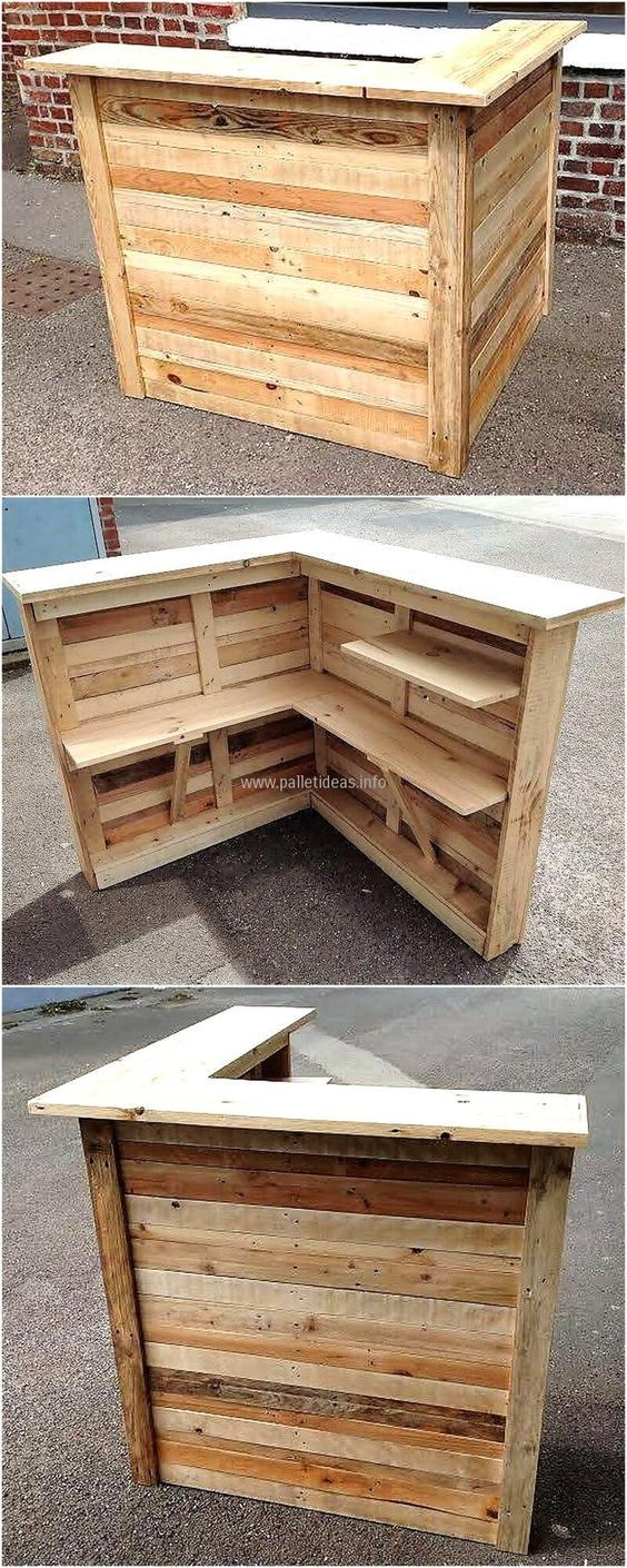 Now here is another idea for the shipping pallet bar creation, which is good for the person to copy, who is running a bar. It will help in saving money for getting a piece of furniture for serving the guests or for welcoming them on the reception area.