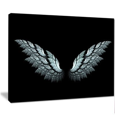 "DesignArt 'Angel Wings on Black Background' Graphic Art on Wrapped Canvas Size: 12"" H x 20"" W x 1"" D"