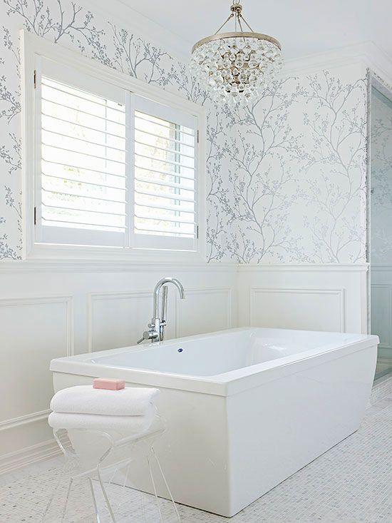 25 Best Bathroom Wallpaper Ideas On Pinterest Half