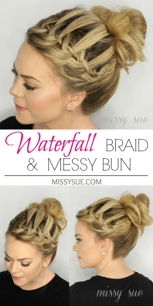 Waterfall Braid Top Knot