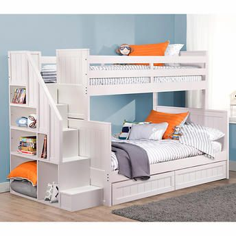 Ryan White Twin over Double Bunk Bed with Universal Staircase