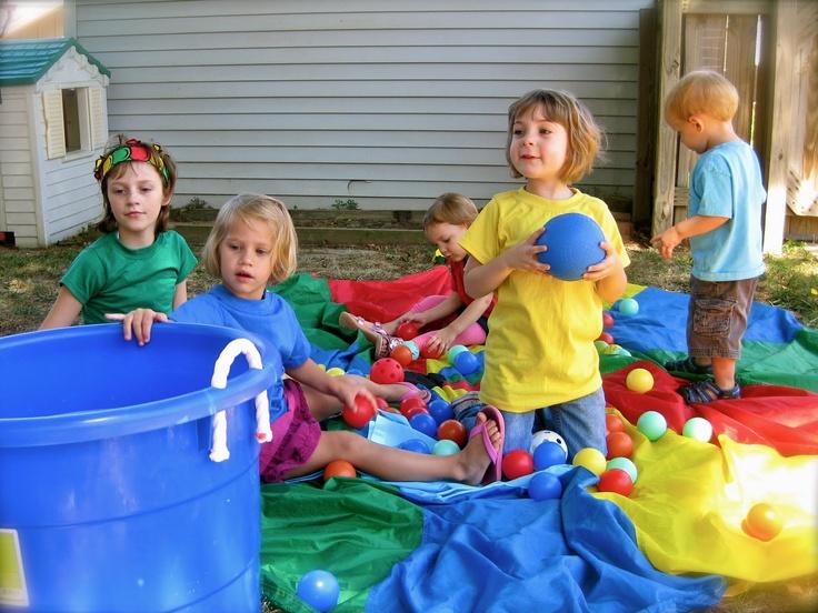 olympic preschool games, bucket toss