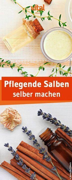 Ihr leidet unter Kopfschmerzen, Muskelverspannungen oder Husten? Man muss nicht gleich zu Medikamenten aus der Apotheke greifen. Wir zeigen euch, wie ihr pflegende Salben ganz einfach selber machen könnt.
