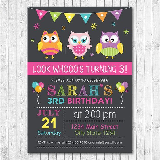 Owls Invitation Owl Invite Owls Birthday Owl by funkymushrooms