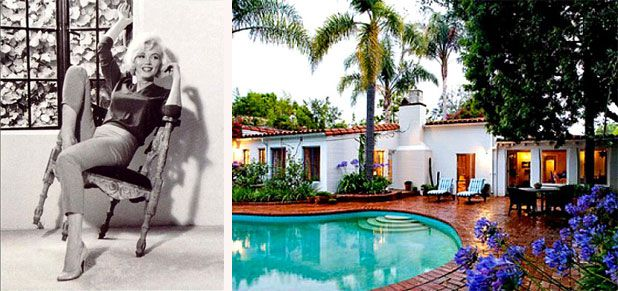 Marilyn Monroe The iconic star bought her first home in 1962 — a 1929 hacienda-style house in Brentwood California. The actress purchased the home for $90,000, but sadly the purchase was made only a mere six months before she was found dead in the home.