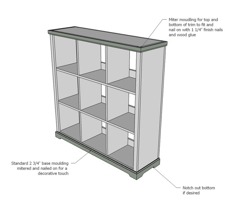 Ana white build a cubby bookshelf large free and for Large bookcase plans