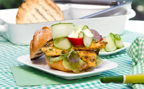 Lemon and dill fish burgers: Grilling burgers on the barbie (rather than frying them in the kitchen) means there's no excess oil, making them a healthier option.