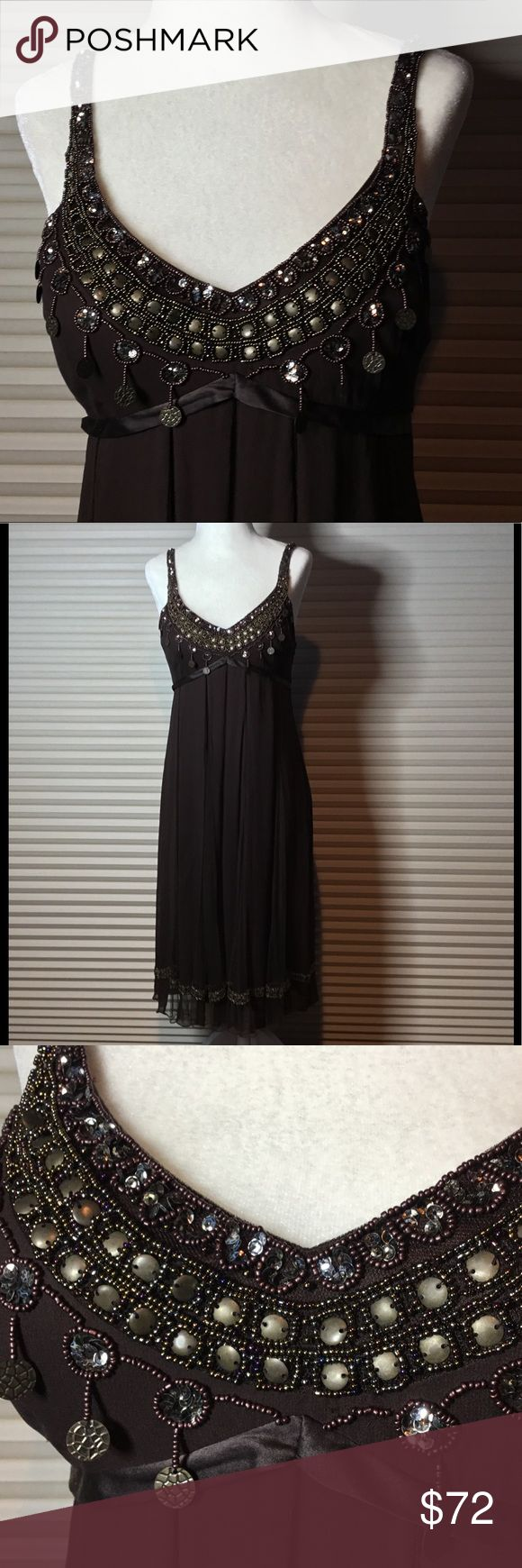 Gorgeous Sue Wong Just gorgeous Sue Wong Nocturne dress.          💯 % Silk with full lining. A beautiful chocolate brown color. Beaded bust, beaded hem and beaded straps. Ties in back, zipper on side. Worn once. Perfect condition 💜💜❤️💜💜 Sue Wong Dresses
