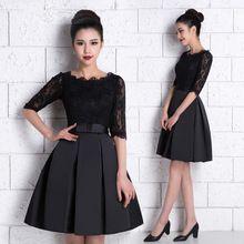 Robes de coctel robe Cocktail en Stock noir bourgogne dentelle moitié manches courtes Prom Party robes de Cocktail 2016 robe de Cocktail(China (Mainland))