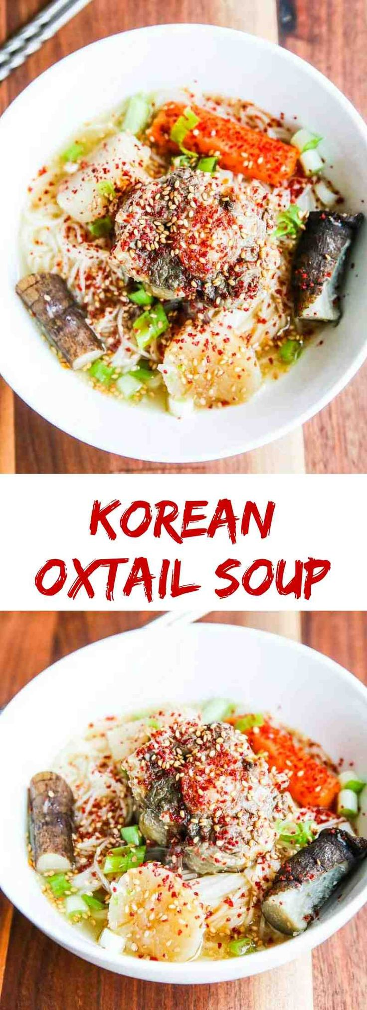 Korean Oxtail Soup - an Asian bone broth served with a chili sesame scallion topping.