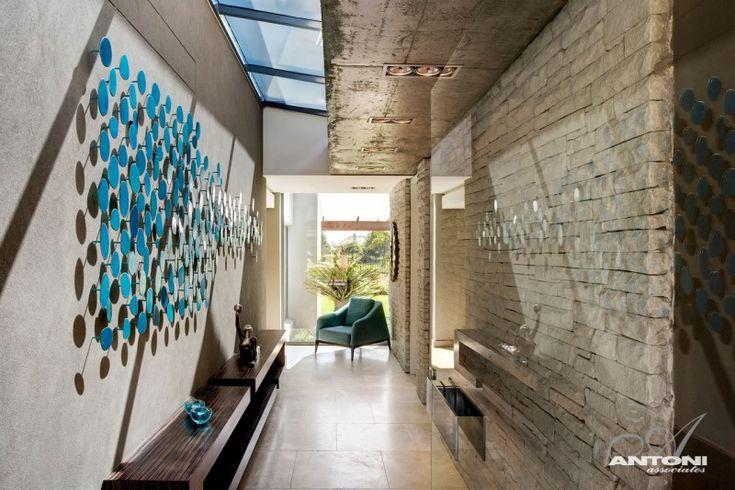 Modern Home Design. Concrete Wall Stone Wall Home Corridor Design