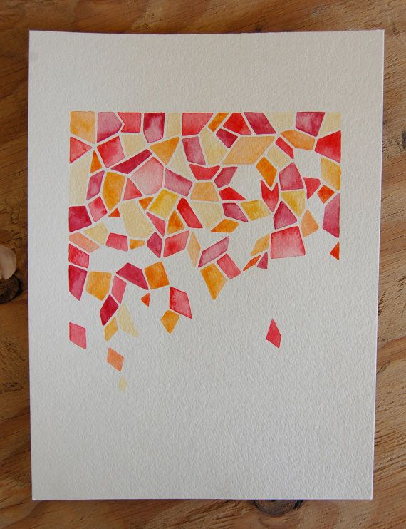 Pink Petal Geometric Watercolor Painting by LifesLittleStudio, $45.00