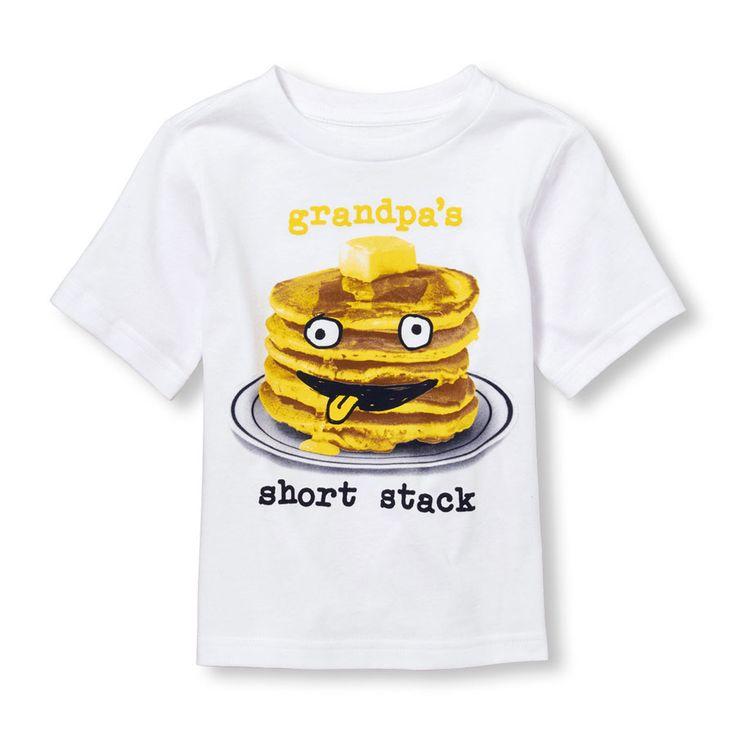 Toddler Boys Short Sleeve 'Grandpa's Short Stack' Pancake Face Graphic Tee