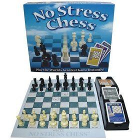 """Caden loves playing Chess and """"No Stress Chess"""" is the game that taught him how! This top rated game makes it easy for kids to learn. They draw cards that tell them which piece to move and how it CAN move. In no time, they will be playing without the cards and kicking your trash! #shepicks gifts for boys 7 to 12 #christmasgifts"""