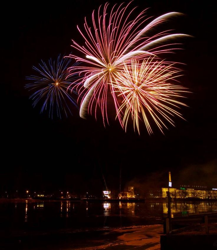 Fireworks over river - December 2014