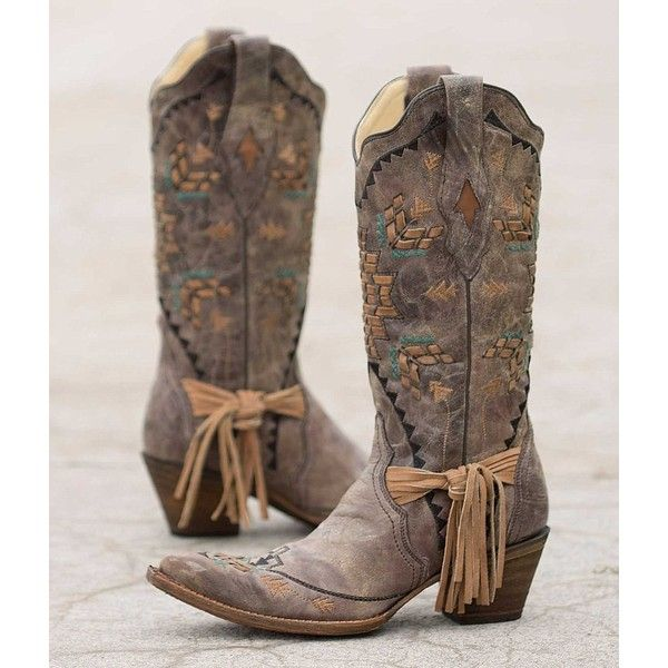 Corral Embroidered Cowboy Boot ($285) ❤ liked on Polyvore featuring shoes, boots, brown, cowboy boots, distressed leather boots, tall cowgirl boots, tall brown boots and cowgirl boots
