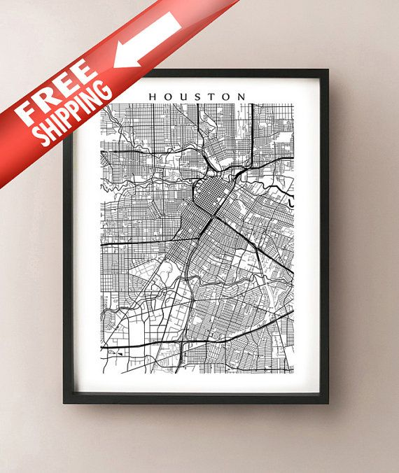 Houston Map  Black and White Wall Art Texas Art by CartoCreative