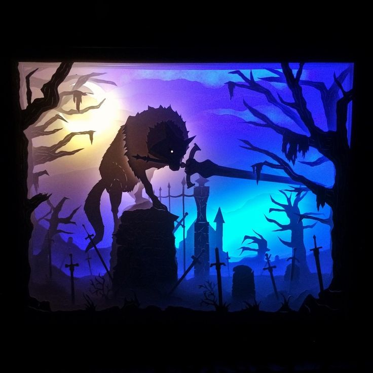 Fresh art! Just finished this Darksouls themed Sif the Great Grey Wolf lightbox. : CraftyTrolls