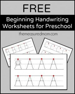 Free beginning handwriting worksheets for preschool the measured mom 590x734 241x300 Free Printable Handwriting Worksheets for Preschool & Kindergarten