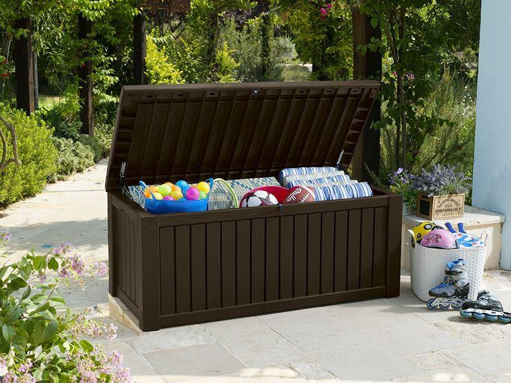 Spectacular Keter Kissenbox wasserdicht Rockwood Gartenkisenbox Braun L Balkon Kissenbox Amazon