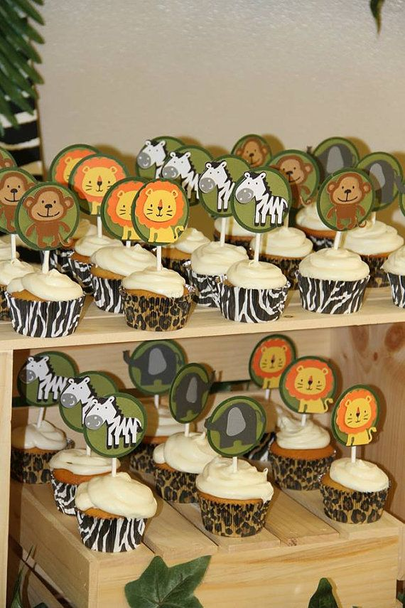 Safari cupcake topper, jungle cupcake topper, zoo cupcake topper Check out this item in my Etsy shop https://www.etsy.com/listing/255969096/safari-cupcake-toppers-jungle-toppers