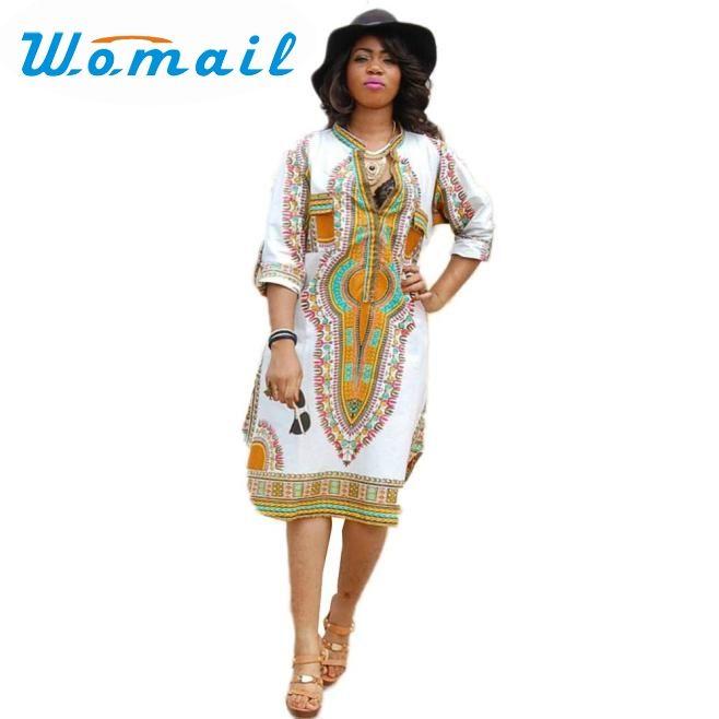 Dress Newly Design Plus Size Women Casual Deep V-Neck Traditional African Dashiki Print Knee Dress 160701 Drop Shipping Vestido