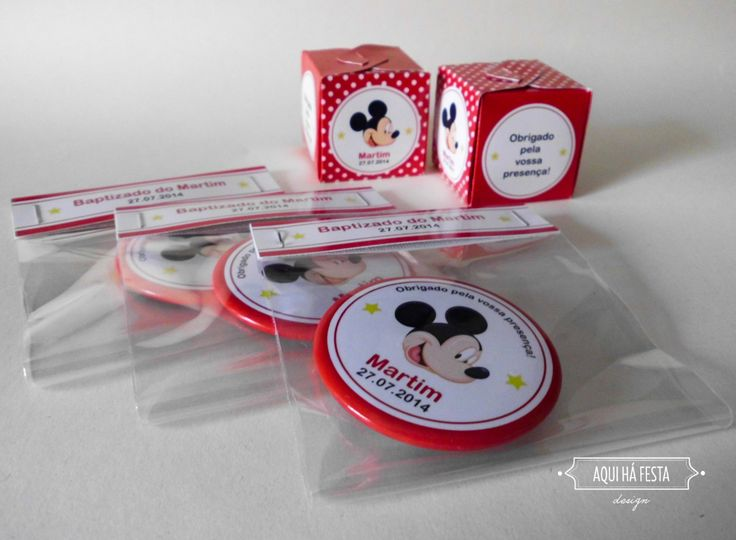 Mickey Baptism Favors - Magnets and Little boxes with smarties