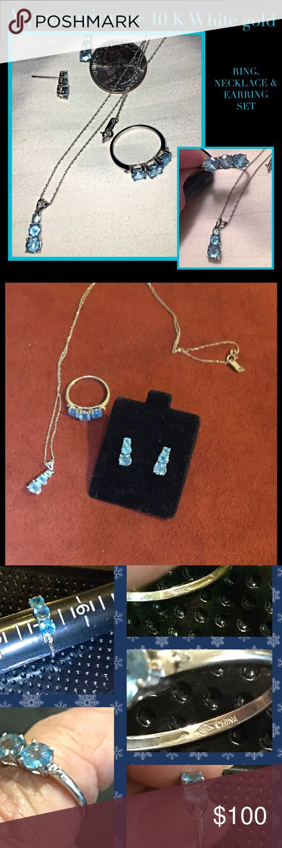"Aquamarine 10k White past, present & future set RING..MARKED 10K WHITE GOLD AND MAKERS MARK & CHINA NECKLACE, RING AND EARRINGS..ALL HAVE 10K MARK PAST,PRESENT& FUTURE DESIGN 3 BLUE ( aquamarine) STONES with tiny diamond set on each side of ring Chain 18"" Ring size 7 Earrings 1/2""  Excellent CONDITION PRICE FIRM..THANK YOU Jewelry Necklaces"