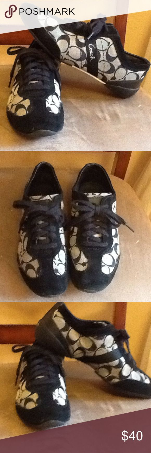 "Coach Tennis Shoes Black coach tennis shoes. Shoes are in great condition! Slightly worn 'coach' on the backs and marking on right she near tie (pictures shown). Fabric with suede and leather accents. ""Coach"" written on side of each shoe and on backs. Coach Shoes Sneakers"
