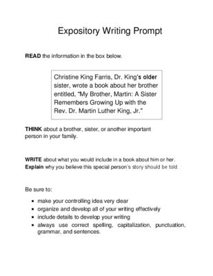 6th grade expository essay prompts Here is a graphic preview for all the 1st grade, 2nd grade, 3rd grade, 4th grade, 5th grade, 6th grade, 7th grade and 8th grade informative and expository writing prompts worksheets.