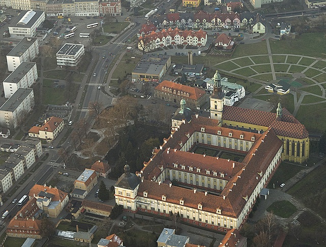 Aerial view of Trzebnica - the yellow house  by the top of the picture is the house I grew up in and my parents are still living there.