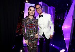 Matt Bomer Photos Photos - Honoree Lily Collins (L), recipient of the LACOSTE Spotlight Award, and actor Matt Bomer pose at The 19th CDGA (Costume Designers Guild Awards) with Presenting Sponsor LACOSTE at The Beverly Hilton Hotel on February 21, 2017 in Beverly Hills, California. - 19th CDGA (Costume Designers Guild Awards) - Backstage and Green Room