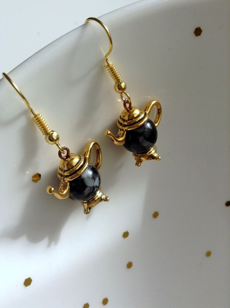 Antique Gold Teapot Earrings, Handmade Elegant Jewelry by ViewofBeauty on Etsy
