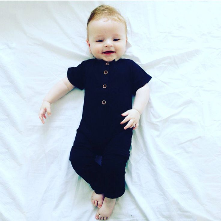 Baby Boys Rolled-sleeved Romper Newborn Cotton Jumpsuits Toddler Summer Pajamas Infant Plain Black Clothing Free Shipping F28