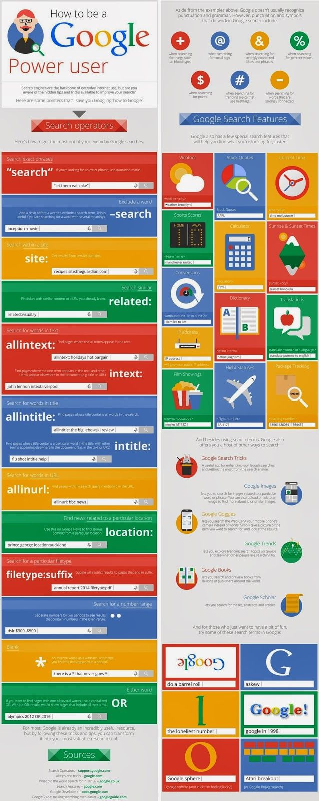 Educational Technology Guy: Infographic with Google Search Tips