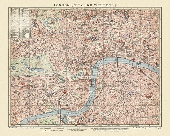 London  City and Westend Antique Map Reproduction / Old Map Print