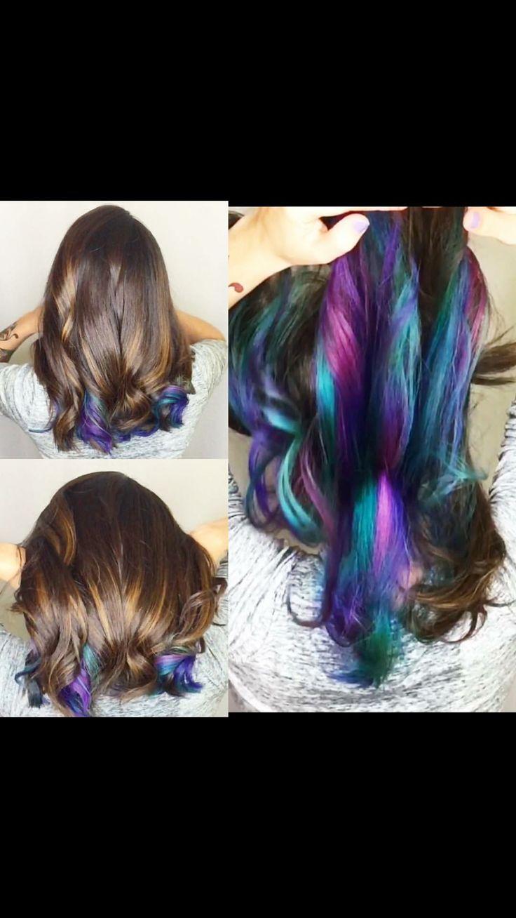 Brown Hair With Highlights Underneath Dark Brown Hairs Of Secret Hair Color Underneath ...