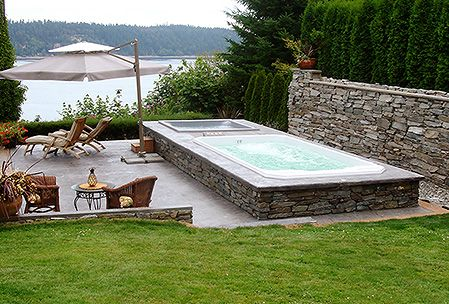 37 best images about swim spa sauna on pinterest for Spa pool garden ideas