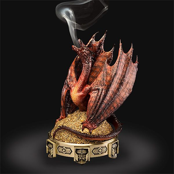 This Hobbit Smaug Incense Burner is set up so that it looks like the smoke from your incense is coming from Smaug's own mouth. You supply the cone incense which will billow forth from between Smaug's teeth as the remnants of his fiery breath.
