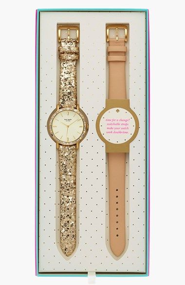 kate spade new york 'metro' crystal bezel watch & straps set, 38mm available at #Nordstrom
