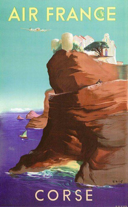 Air France, Corse by Eric / 1949 Vintage travel beach poster #essenzadiriviera.com