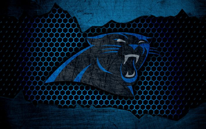 Download wallpapers Carolina Panthers, 4k, logo, NFL, american football, NFC, USA, grunge, metal texture, South Division