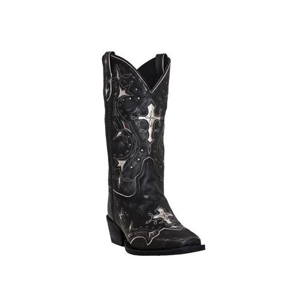 Women's Laredo Silver Cross 52030 - Black/Grey Leather Cowboy Boots ($139) ❤ liked on Polyvore featuring shoes, boots, western boots, gray leather boots, square toe cowboy boots, cowgirl boots and black boots