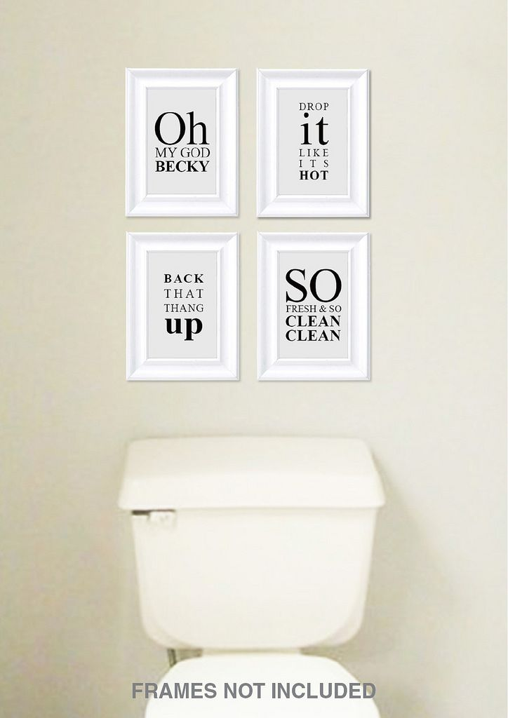 Funny Sayings Bathroom Wall Art Decor Photo Set Of 4 White Metallic Pearl 5x7 Prints Unframed Rap Song Lyric Quotes Decoration Signs Bathroom Wall Decor Diy Bathroom Wall Art