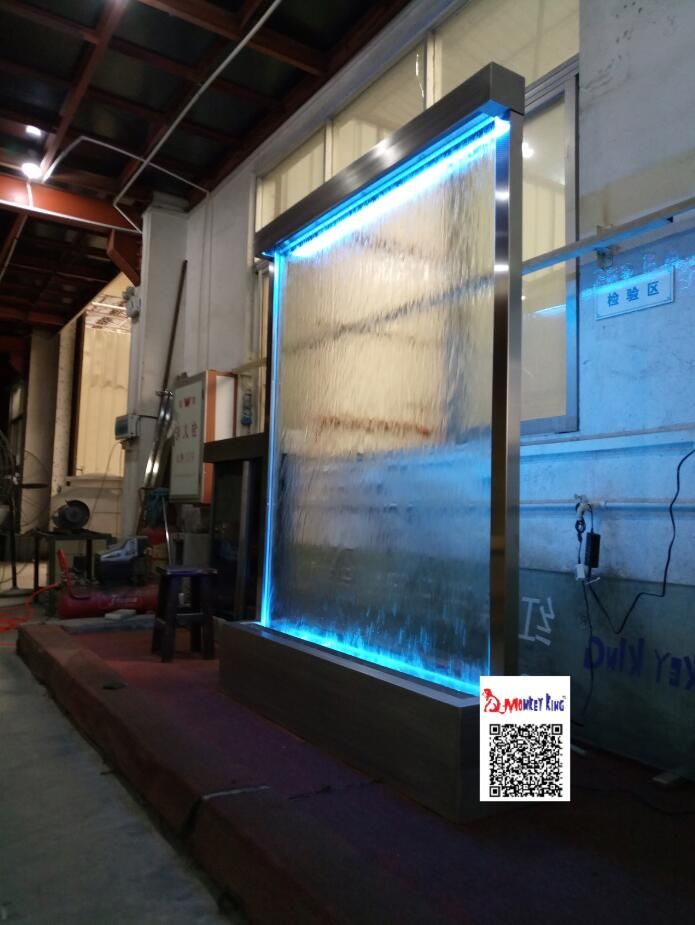 2meters high by 15 meters wide stainless steel frame tempered clear glasscolors indoor waterfall
