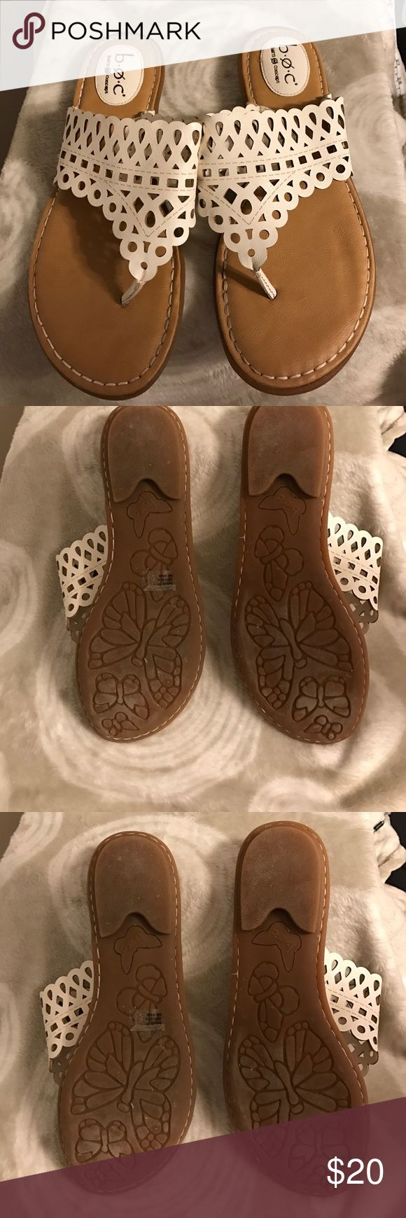 Comfortable white BOC sandals. Maybe worn once! These white Born Concept sandals have a nice padded heel and are known for their comfort. They are spring and summer ready!Smoke free home. Reasonable offers welcome. Shoe 19 Born Shoes Sandals