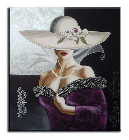 Cuadro dama con sombrero pintado a mano dormitorios salones 1030 - Tiendas de lámparas y cuadros Abricer