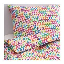 IKEA - STICKAT, Duvet cover and pillowcase(s), , Made from 100% cotton, a natural material that's soft against your child's skin and gets softer with every wash.You can easily combine the multi-color duvet cover with other textiles.
